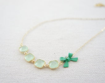 mint green gem and green bow necklace with 14K gold filled chain, bar necklace, wedding, gift, birthday, valentine's day, layered necklace