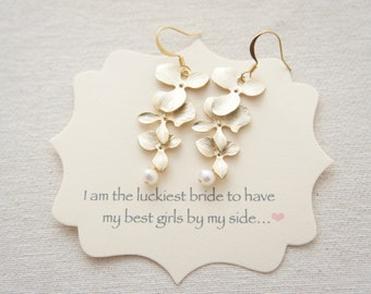 Triple orchid gold earrings -  with pearl, cascading gold earrings, bridal gift, wedding, bridesmaids