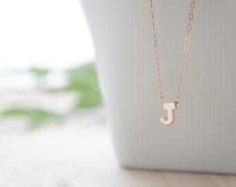 """Rose Gold Letter, Alphabet, Initial capital """"J"""" necklace, birthday gift, lucky charm, layered necklace, trendy"""