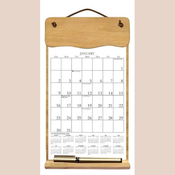 Calendar Wooden Holder : Calendar undecorated wooden holder filled with