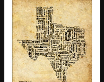 Texas State Map City Cities Typography Grunge Map Poster Print Tyographical Map