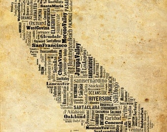 California Typography Map Poster Print Grunge