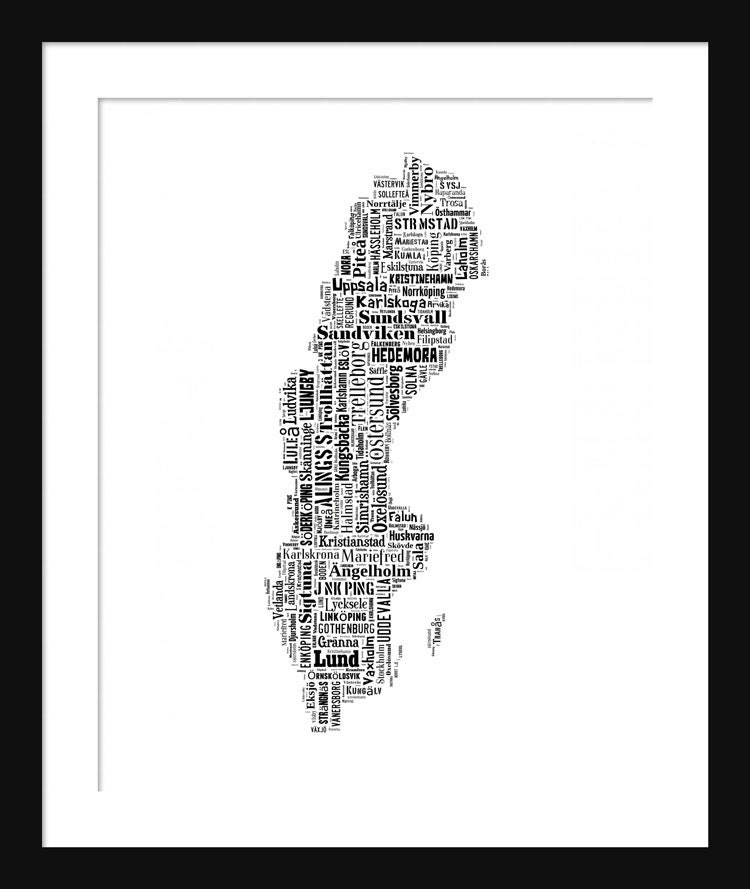 Sweden Map Typography Map Poster Print Text Map - Sweden full map