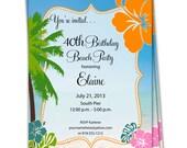 10-5x7 Birthday Invitations/Hawaiian Birthday/Tropical Birthday/Flower Birthday Invitation