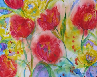 original abstract red tulip watercolor painting, daffodil art, Spring flower art, garden art, wall decor, home decor, flower watercolor