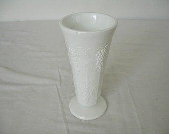 Milk Glass = Vintage Vase = Grape Pattern = Shabby Cottage = White Milk Glass