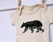 Organic Baby Bodysuit, Black Bear Print, American Made Organic Cotton