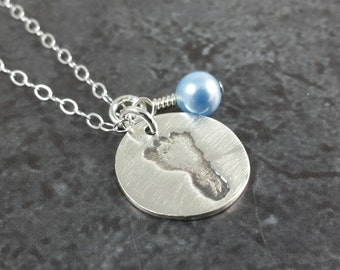 Custom Foot print Necklace - Your Childs ACTUAL foot print - Foot print Jewelry - Sterling Silver - Mothers Day Gift - Mom Jewelry