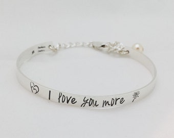 I Love You More Sterling Silver Child's Bracelet - Personalized Bangle - Hand Stamped Bracelet