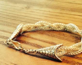 Viking Knit Series: Triple Braided Sterling Silver Bracelet