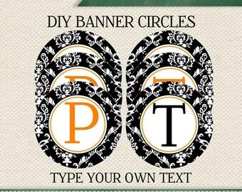 HALLOWEEN  EDITABLE  INSTANT Download Printable Editable Black Damask Circle Banner (Digital File)