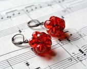 Copper Red Earrings Cluster Dangle Leverback Antiqued Beaded Crystal Earrings