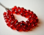 Beaded Chunky Red Bracelet Statement Jewelry Crystal Antique Copper Cluster Adjustable