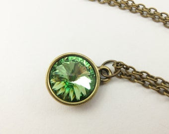 Brass Peridot Necklace August Birthstone Jewelry Peridot Crystal Necklace