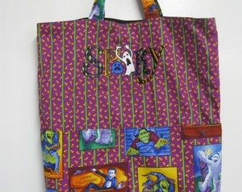 Spooky Candy Corn Print Halloween Tote or Eco Friendly Purse Grocery or Shopping Bag