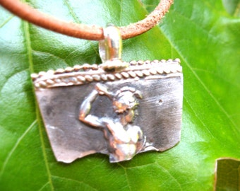 Hercules And Egyptian Ankh Sterling Pendant