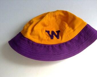 University of Washington Cap, Vintage 1950 hat.  Washington Purple and gold.  Felt W.  Size Large.