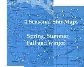 4 Star constellation maps or charts in rich blue and white.  Digital downloads at 400dpi.  DIY zodiac astronomy backgrounds.