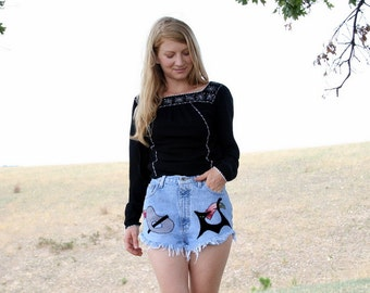 Halloween Vintage High Waisted Jean Shorts  - M - 27 Waist - Atomic Hotpants Black Cat Kitty Lovers