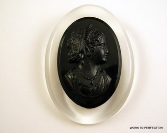 Black and Clear Cameo Brooch