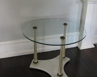 Coffee Table Round Glass Top Vintage Marble Base with Columns Hollywood Regency Round Table Poppy Cottage Painted Furniture