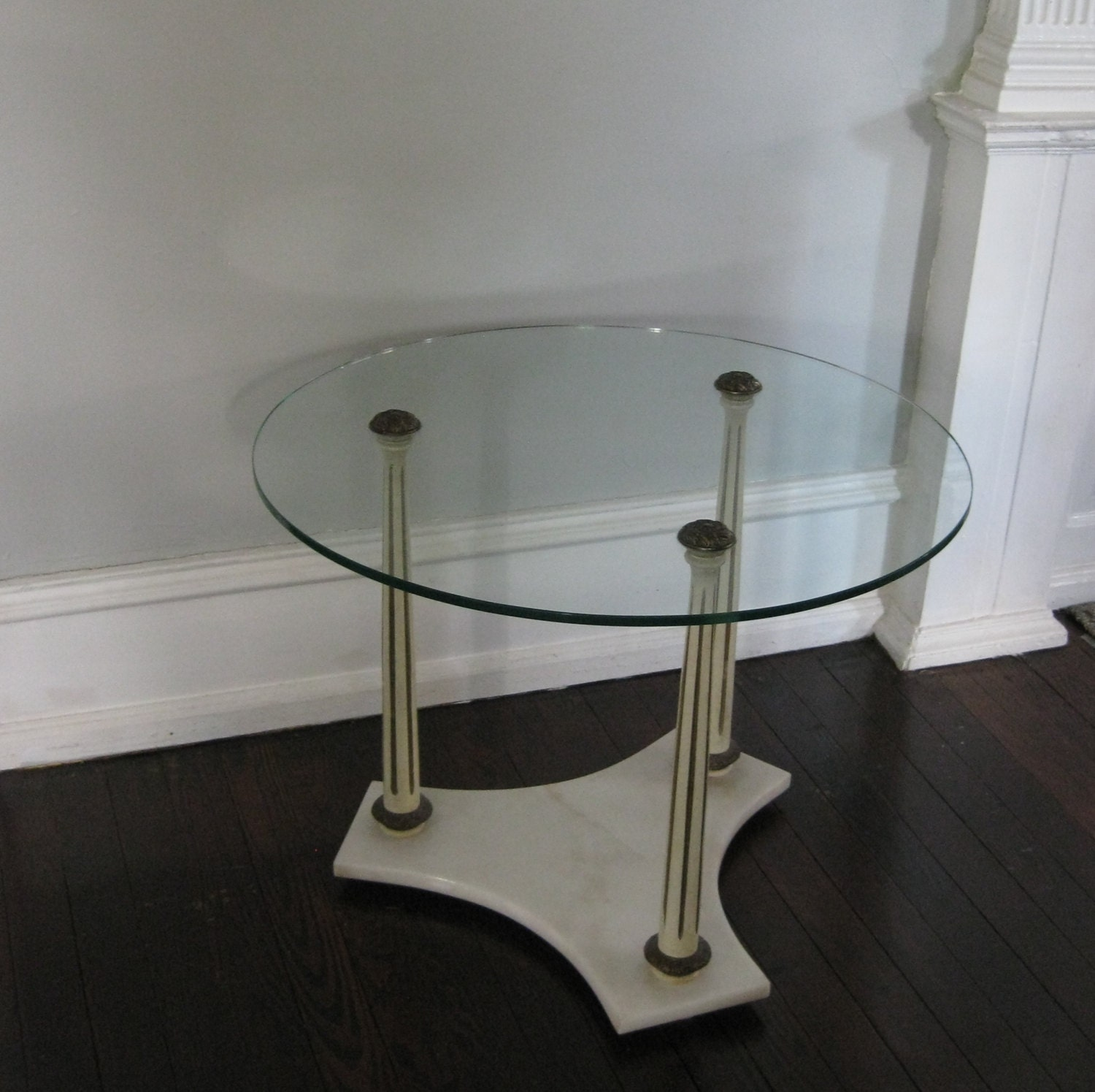 Coffee Table Round Glass Top Vintage Marble Base With Columns