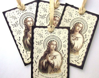 Religious Gift Tag Holiday Gift Tag French Holy Card Paper Lace