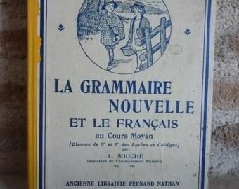 Shabby Chic French Language Book /La Grammaire et Le Français / 1942 / Decoration.