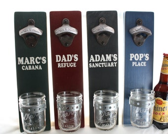Dad's Man's Father's Day Gift Personalized Custom Wall Mount Bottle Opener with Mason Jar Cap Catcher--painted solid wood