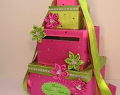 Lime Green and Hot Pink Wedding Card Box Gift Card Box Money Box Holder--Customize your color