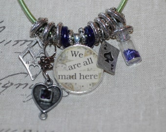 We Are All Mad Here Alice In Wonderland Charm Necklace