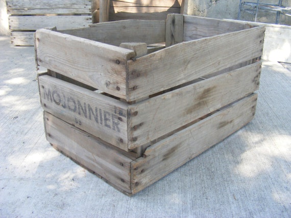 Vintage fruit crate apple box rustic wood box 1950 39 s fall for Vintage apple boxes