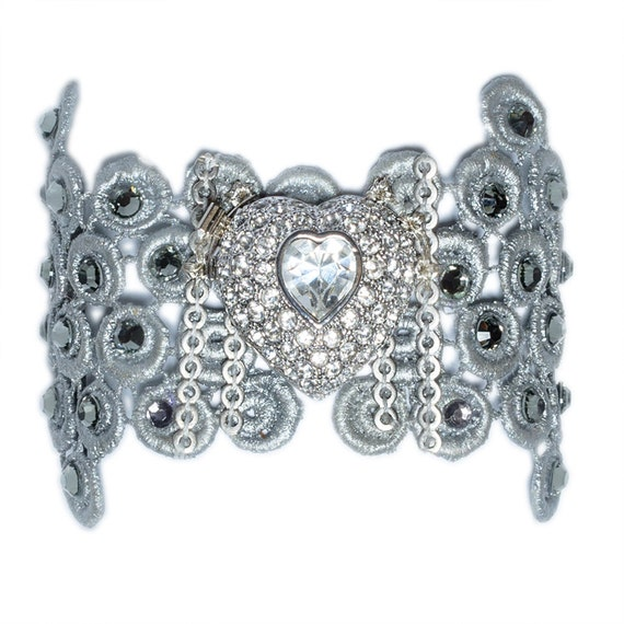 Silver lace bracelet with grey swarovsky crystals and a gorgeous silver and crystal heart brooch.
