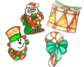 Vintage Stain Glass Christmas Ornaments, Sun Catcher, Holiday Decor, Kitschy, Snowman, Santa Claus, Drum, Candy Cane, Plastic  (668-10)