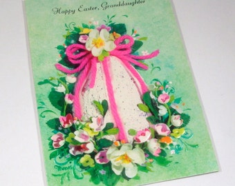 RESERVED...Vintage Easter Card for Granddaughter, Retro Greeting Card, Embossed, Old Holiday Gibson Card  (69-14)