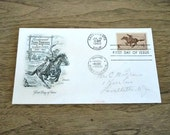 Vintage Pony Express First Day Issue Envelope and Stamp, Horse, Western, Old West, California