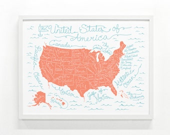 US Map Poster, US Map, Travel Map Poster, Art Print, Home Decor, Nursery Decor - USA Map