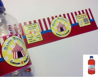 20 Carnival or Circus Themed Juice Bottle Wrappers