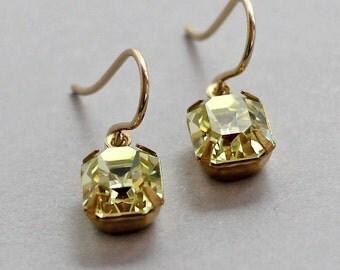 Jonquil Yellow Earrings Rhinestone Emerald Cut Swarovski Jewels 14K Gold Fill