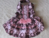 Dog Harness Dress XS Poodles Roses Pink