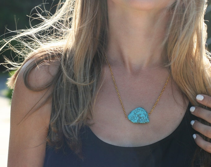 Natural turquoise and gold/silver nugget necklace
