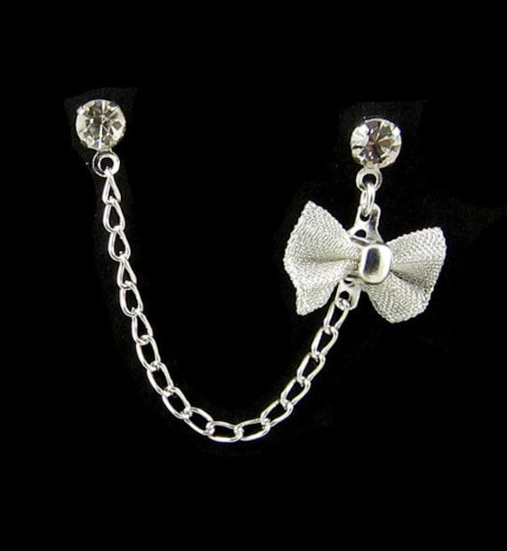 Rhinestone Silver Bow Cartilage Double Piercing