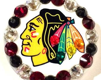 Chicago Blackhawks Swarovski Crystal Embellished ID Badge Reel