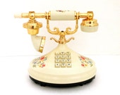 Vintage Empress Ivory Florals Printed Princess Phone