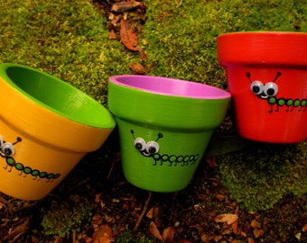 Painted Flower Pots - Small Painted Pots - Kids Party Favors