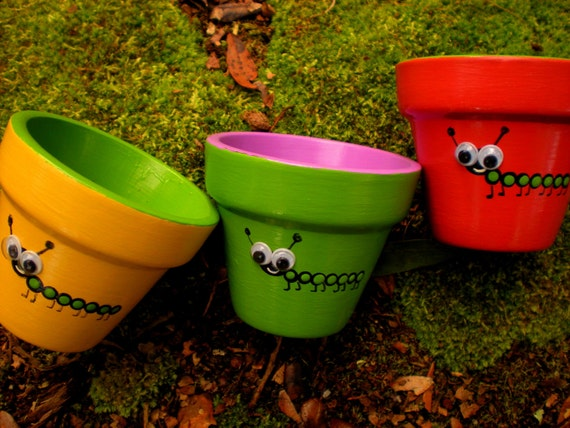 painted flower pots small painted pots kids party favors