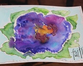 MarveLes Original  8x10 Watercolor Painting  FAITH Wild Flower PANSY Garden with Microbeads Purple, Orange  Gold Green Turquoise Silver