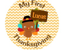 MY FIRST THANKSGIVING Iron On Transfer - Personalized Chevron Iron On With Turkey - My First Thanksgiving - Turkey Iron On Transfer T1