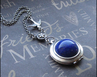 Lapis Lazuli Silver Locket Necklace - Enchanted Lapis Lazuli - Jewelry by TheEnchantedLocket - PRETTY Wife Mother Christmas Bridesmaid Gift