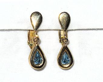 Vintage Avon Teardrop Earrings, Blue Rhinestone Earrings, Dangle Earrings, Clips, Vintage Avon, Costume Jewelry NewYorkMarketplace on Etsy